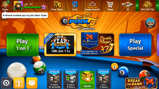 Giveaway 8 ball pool cash and Legendary cue