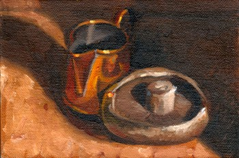 Oil painting of a Swiss Brown mushroom and a small copper jug, both viewed from a high angle.