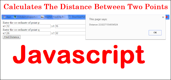 find distance between two points in javascript