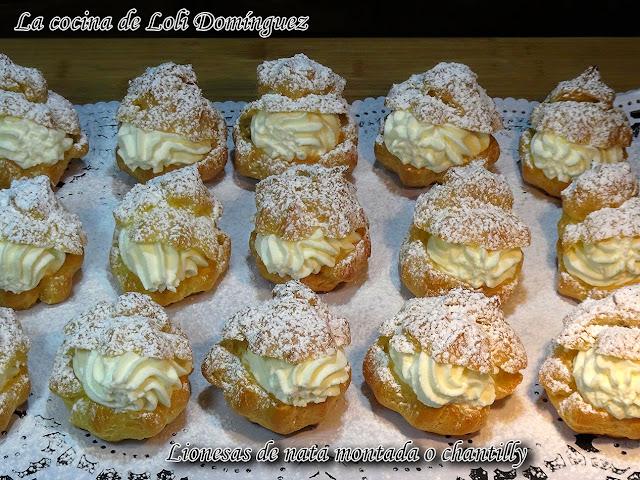 Lionesas de nata montada o chantilly (Pastelillos de pasta Choux)