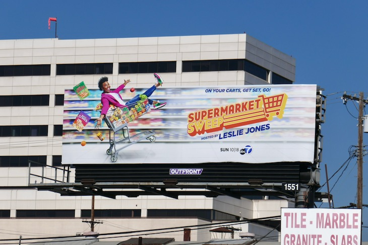 Leslie Jones Supermarket Sweep billboard