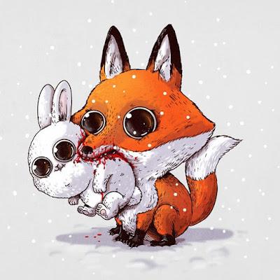Caricatura de Zorra devorando un tierno conejo.