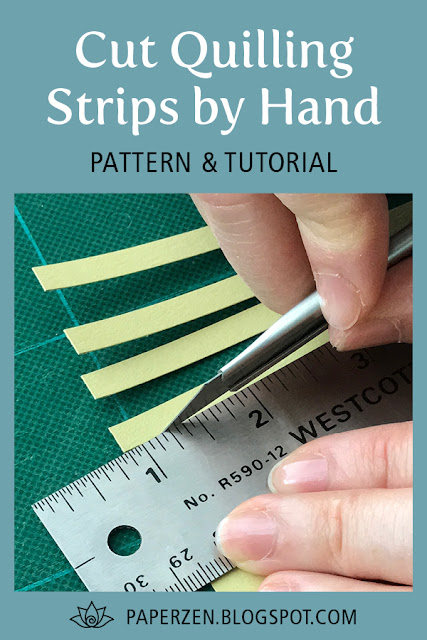 cut quilling strips by hand - free pattern and template