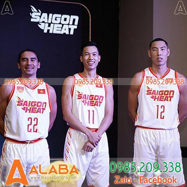 Áo bóng rổ Saigon Heat màu trắng đẹp