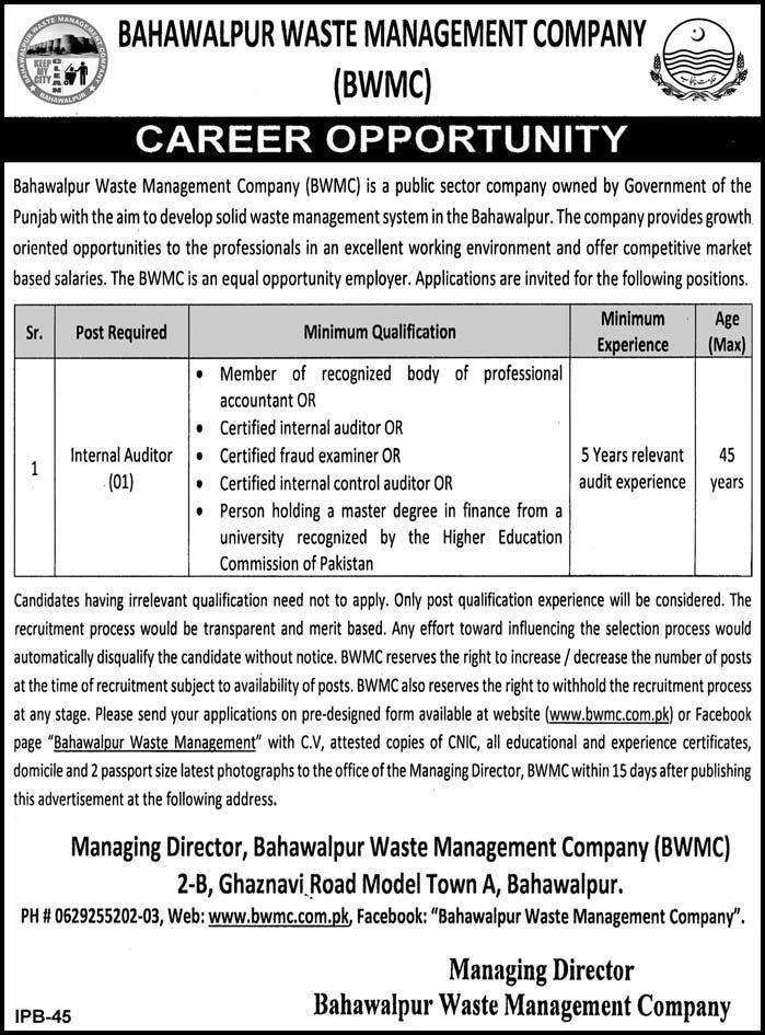 Jobs Vacancies In Bahawalpur Waste Management Company BWMC 24 January 2019