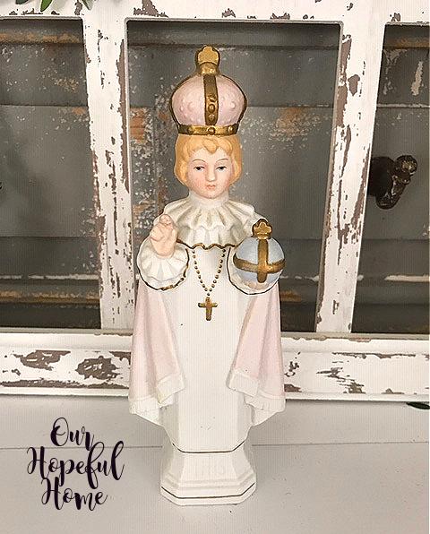Infant Jesu of Prague chalkware fiburine religious statue
