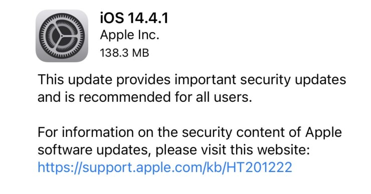 Apple Releases iOS 14.4.1 watchOS 7.3.2, And macOS 11.2.3 With Security Fixes