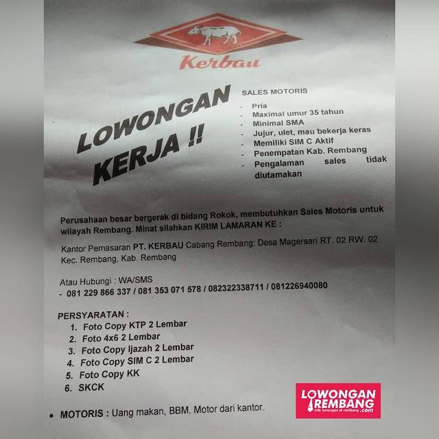 Lowongan Kerja Sales Motoris Rokok PT Kerbau Cabang Rembang