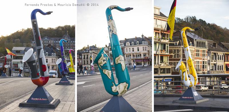 esculturas de saxofone na ponte Charles-de-Gaulle