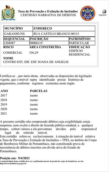 CEDE Isento da TPEI - Taxa de Prevenção e Extinção de Incêndios