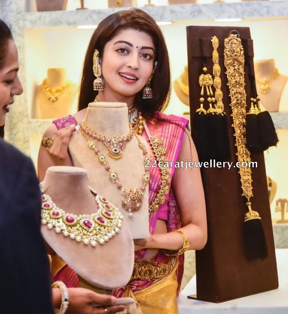Pranitha Showcasing Temple Sets