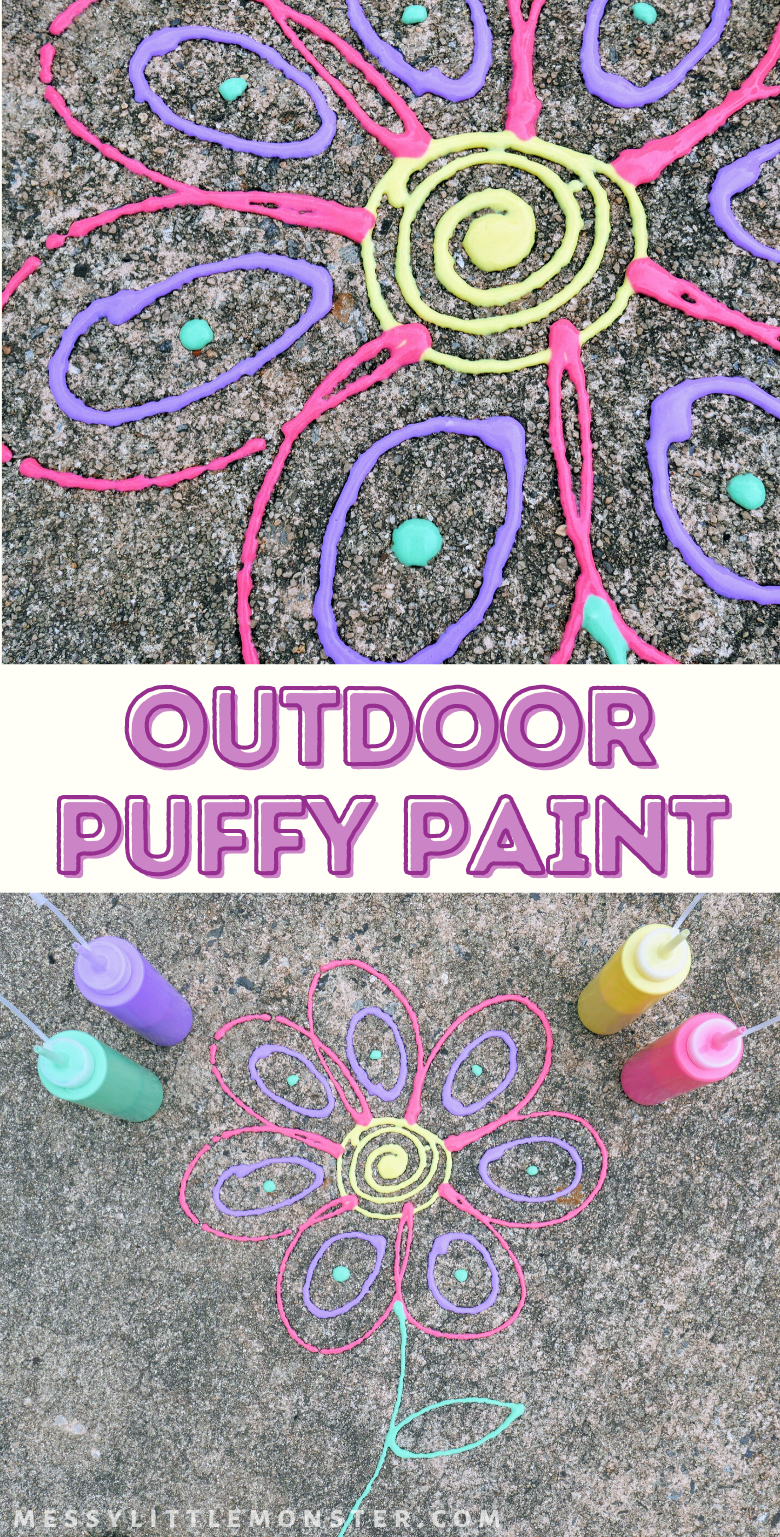 Homemade outdoor puffy paint recipe for kids. Outdoor activities for kids