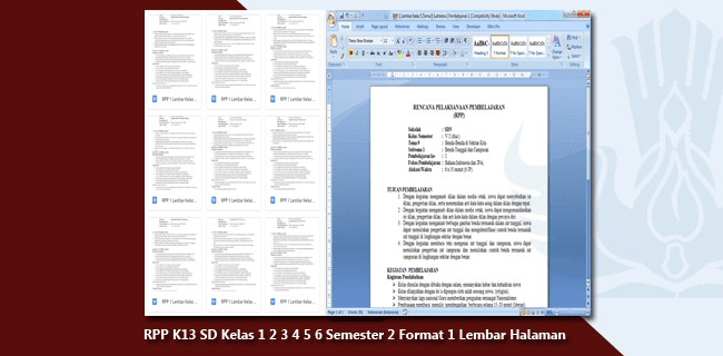 RPP K13 SD Kelas 1 2 3 4 5 6 Semester 2 Format 1 Lembar Halaman Revisi 2020