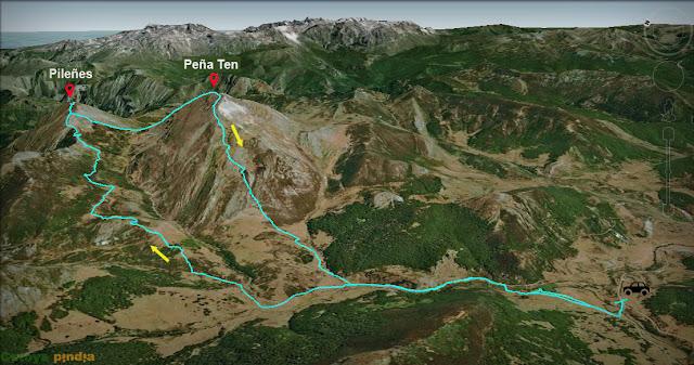 Ruta marcada de subida a los picos Ten y Pileñes