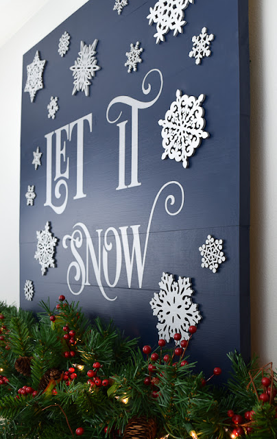 painted wood sign let it snow