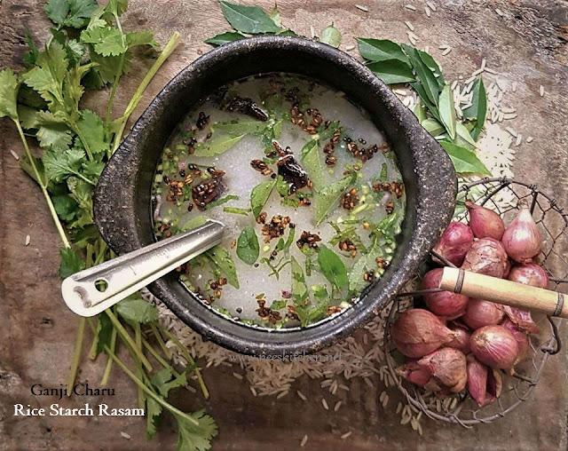 Ganji Charu | Arisi Kanji Rasam | Rice Starch Rasam