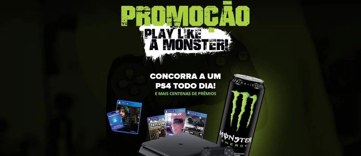 Promoção Energético Monster Concorra Vídeo-Game PS4 Todos os Dias