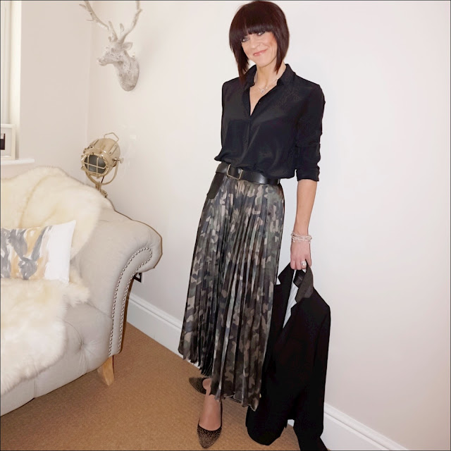 My Midlife Fashion, Zara silk shirt, j crew rhodes blazer, boden studded pointed flat, bella jane stacking bracelets, asos satin camouflage midi pleat skirt