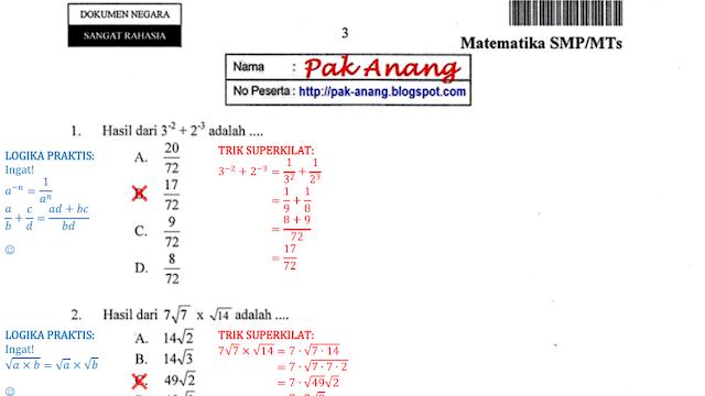 Kumpulan Soal Un Matematika Smp 2017