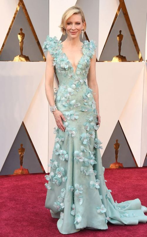 Cate Blanchett in a mint floral Armani dress at the Oscars 2016