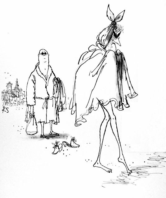 a Ronald Searle drawing of a senior couple at the beach in Miami