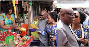 Governor Wike and wife spotted shopping at a local market in Port Harcourt (Photos)