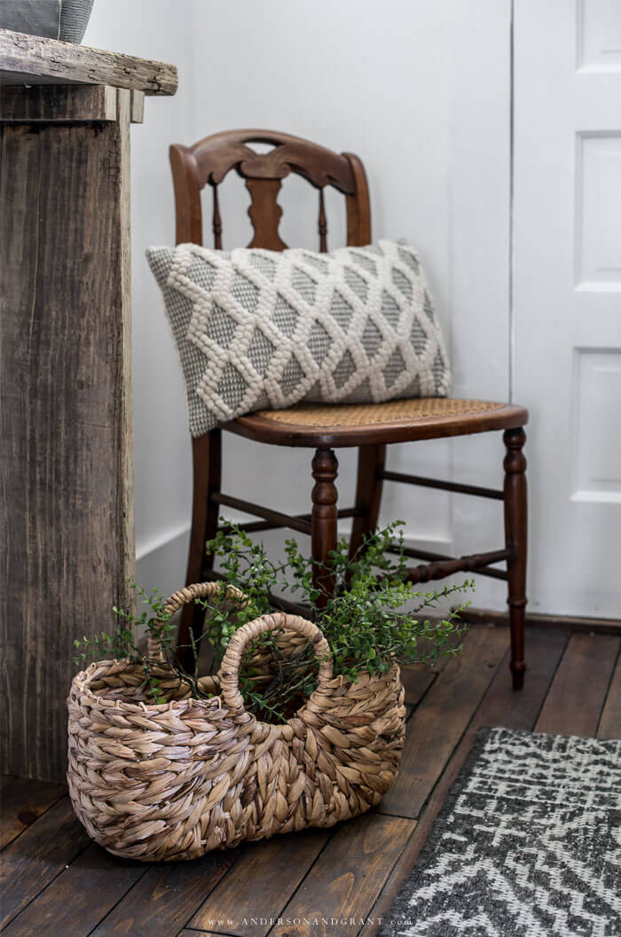 basket filled with greenery