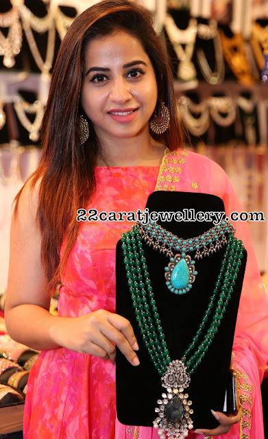 Swathi Deekshith Showcasing Turquoise Necklace