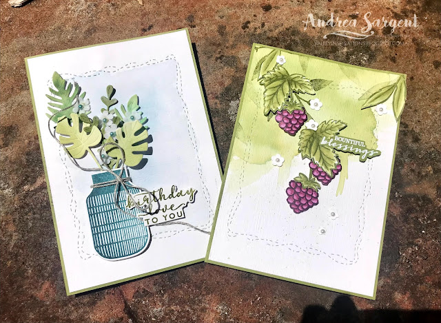Old Olive Stitched with Whimsy Boho Indigo or Berry Blessings Stampin Up card, Andrea Sargent, Independent Stampin' Up! Demonstrator, Valley Inspirations, Adelaide foothills, Australia