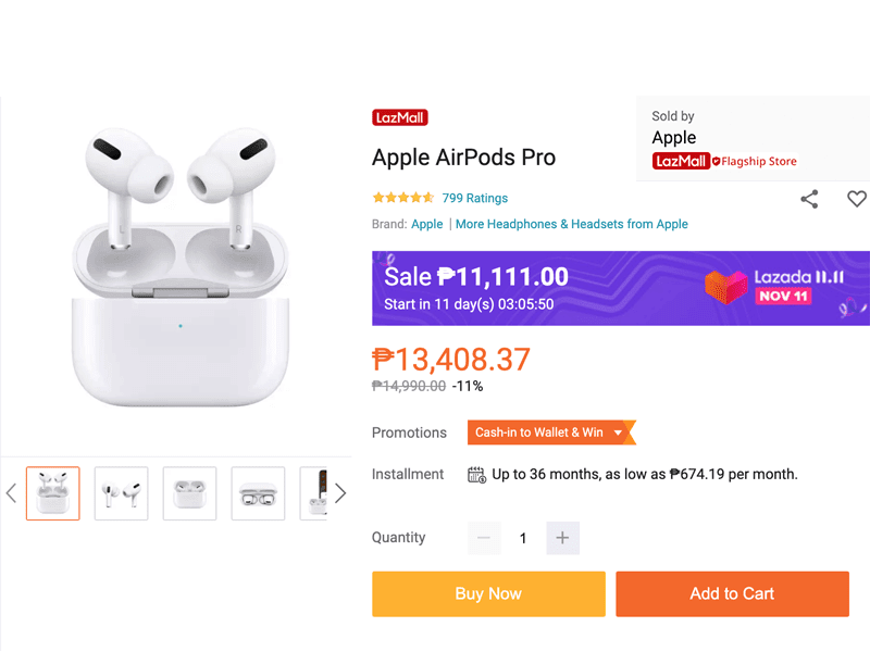 Deal: Get the AirPods Pro for only PHP 11K at Apple Store Lazada this November 11!