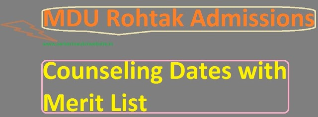 MDU Rohtak BA LLB, MSC Maths Admissions Counseling 2019 MDU Merit Lists