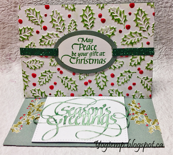 "I'm using another one of my newest 3D embossing folders from Creative Expression - love them.   I'm using a die ""Season's Greetings"" from Elizabeth Craft Designs, also available on Quietfire Design HERE   I'm also using a rubber quote and design element stamp from Quietfire Design (""May Peace Be Your Gift..."" 2pce set)"