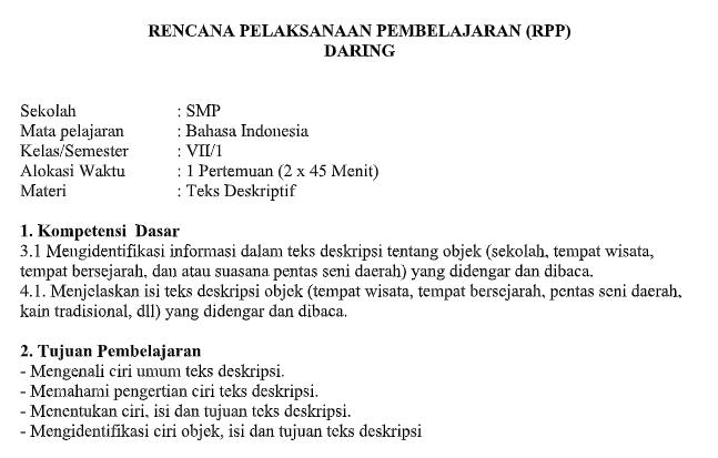 Rpp Daring Bahasa Indonesia Kelas 7 Semester Ganjil Kurikulum 2013 Tahun Pelajaran 2020 2021 Didno76 Com
