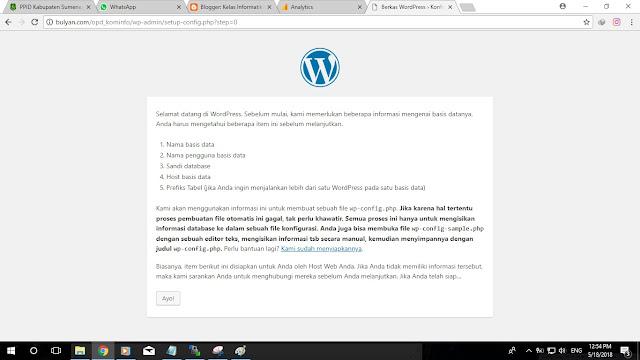 Kelas Informatika - Halaman Awal Install Wordpress
