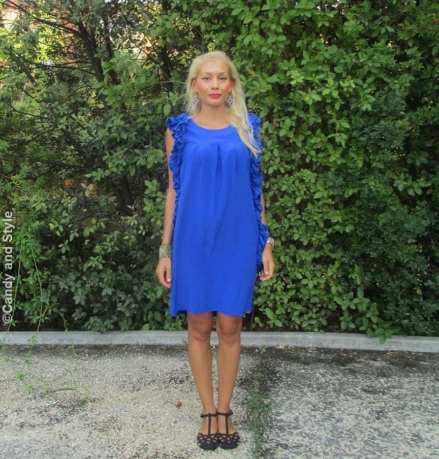 Lo&Lo Blue Dress, Urbiana Bracelet, Flat Sandals - Lilli Candy and Style Fashion Blog