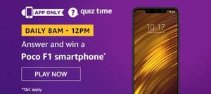 Amazon Quiz 8 December 2019 Answer Win - Poco F1 Smartphone