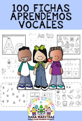 100 fichas para aprender las vocales