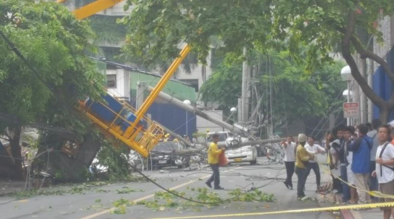 Crane collapses from a construction site in Makati