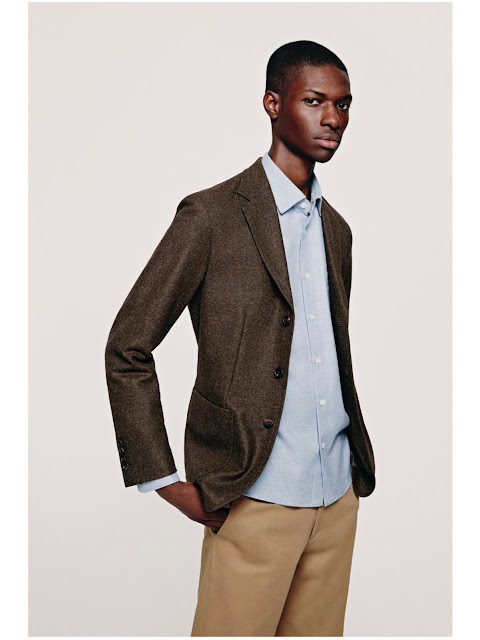 Jijibaba brown tweed jacket and chinos