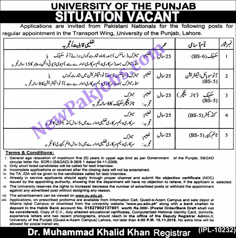 Govt Jobs for Matric Pass in University of the Punjab 18 Oct 2018