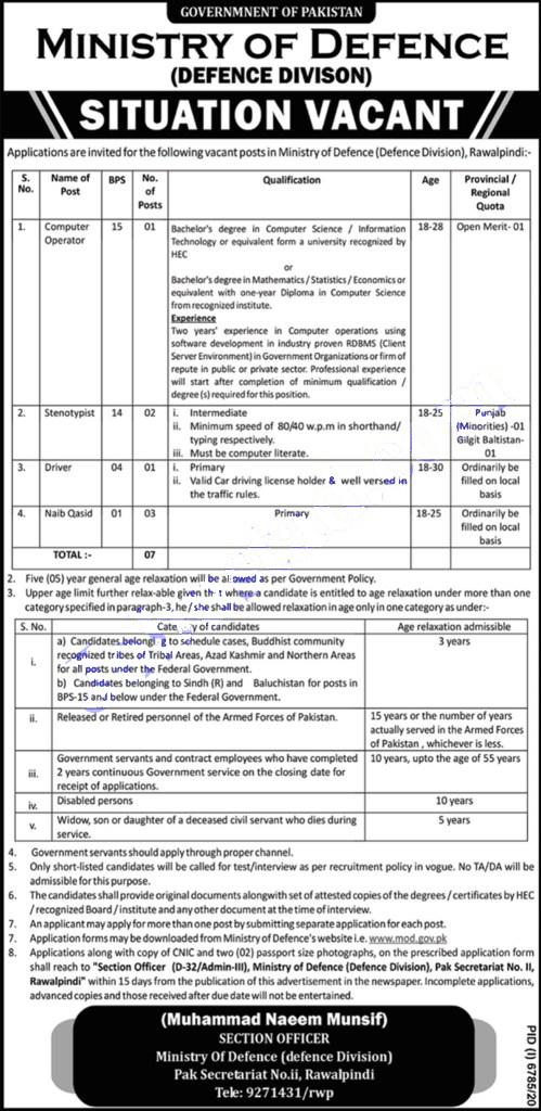 Ministry of Defense Pakistan jobs 2021 Latest 2021