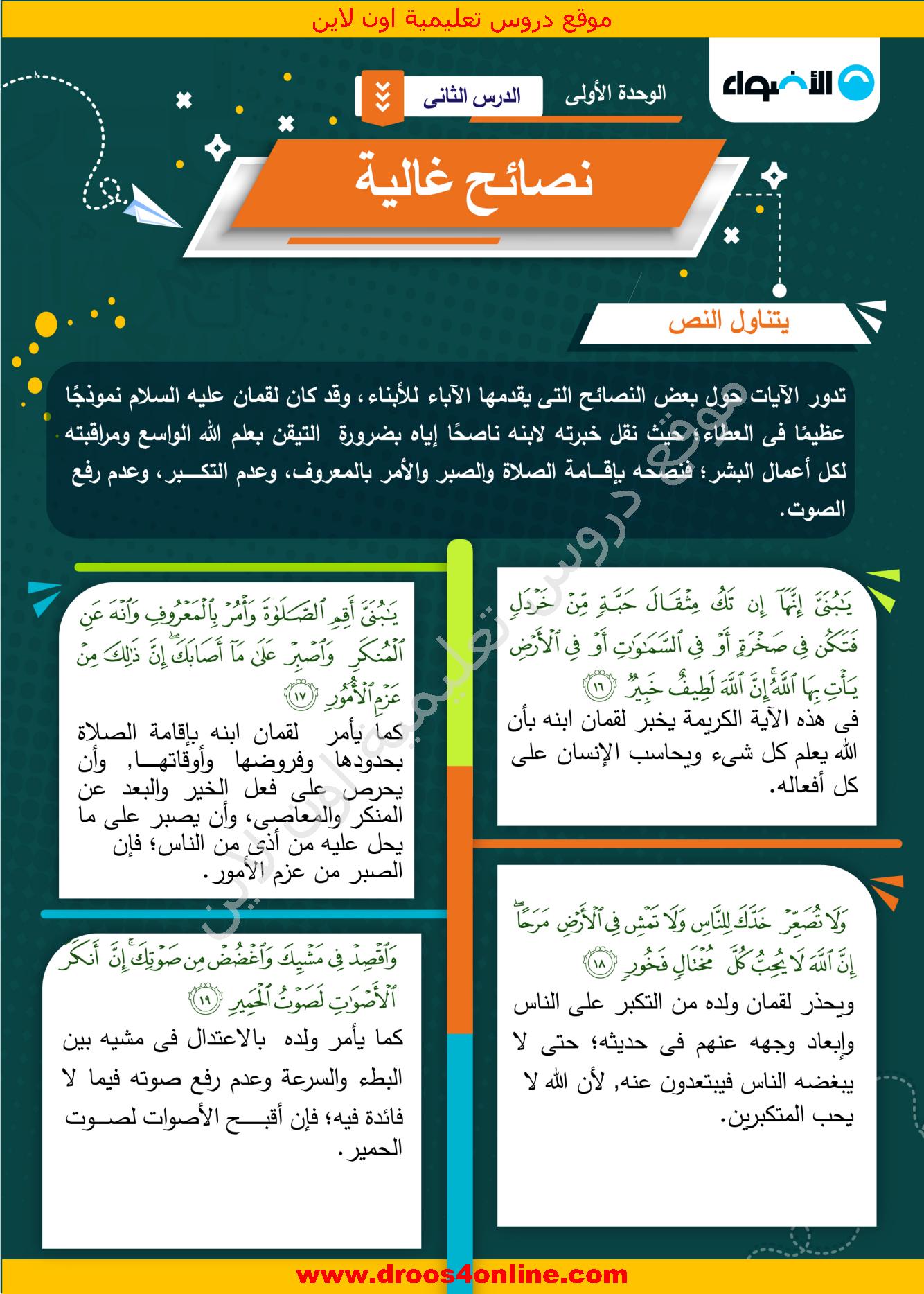 افضل مذكرة لغة عربية (خرائط ذهنية) للصف الثانى الإعدادى الترم الأول 2022 من الأضواء