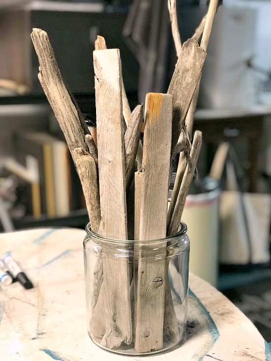Driftwood and glass vase