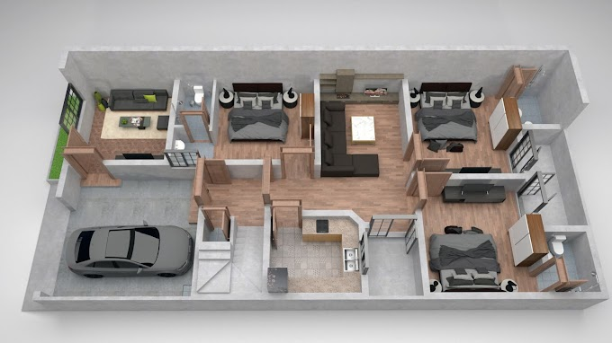 7 Marla House 3d Floor plan