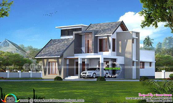 4 bedroom ultra modern sloping roof home design