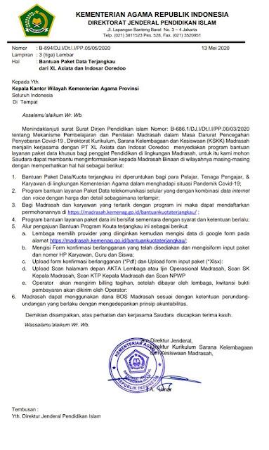 Surat Edaran Bantuan Paket Data Terjangkau dari XL Axiata dan Indosat Ooredoo Dari Kementerian Agama