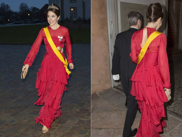 Crown Princess Mary of Denmark attended the state dinner held in honor of Mexican President and his wife.
