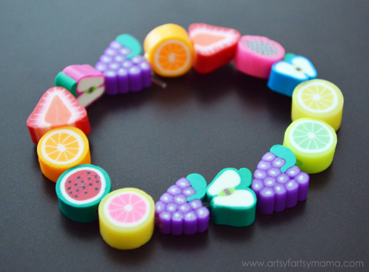 Kids Fruit Jewelry Tutorial at artsyfartsymama.com #kidscraft #summer