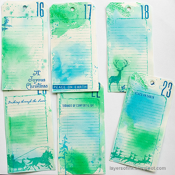 Layers of ink - December Countdown Calendar by Anna-Karin Evaldsson. Christmas tags.