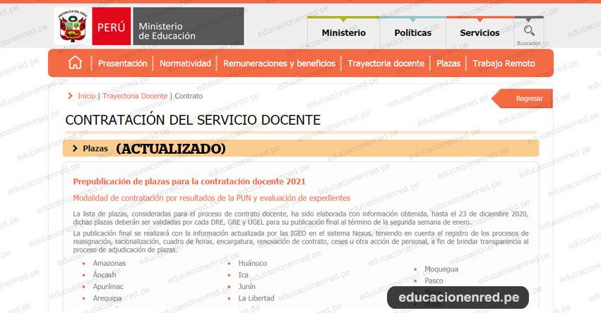 MINEDU: Plazas Vacantes para Contratación Docente 2021 (Actualizado Enero) www.minedu.gob.pe
